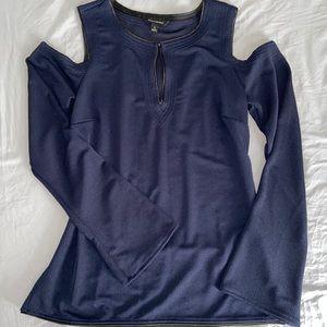 Navy Open Shoulder Top